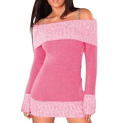Bluelucon Damen Herbst-Winter-tägliche Art-Frauen-Lange Hülsen-Feste unregelmäßige dünne Datierungs-Sweatshirt-Pullover-Oberseiten-Blusen-Hemd ()