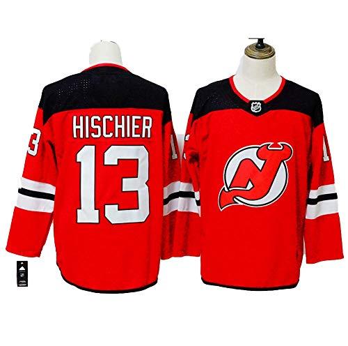 Yajun Nico Hischier#13 New Jersey Devils Eishockey Trikots Jersey NHL Herren Sweatshirts Atmungsaktiv T-Shirt Bekleidung,Red,L