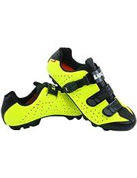 LUCK Zapatillas de Ciclismo MTB ODÍN con Suela de Carbono y Cierre milimétrico de precisión. (42 EU, Amarillo)