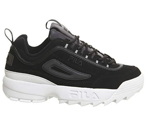Fila Disruptor II Premium Phaseshift Split Negro Mujer Zapatillas-UK 6