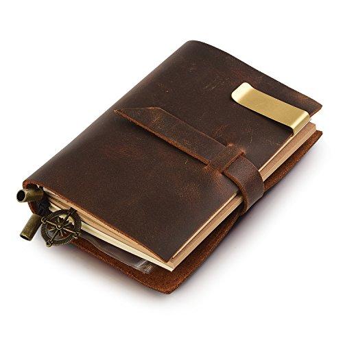 7Felicity 12S Handgefertigt Notizbuch Leder Vintage, 13,5x10,2cm, braun,nachfüllbar Seiten Leder...