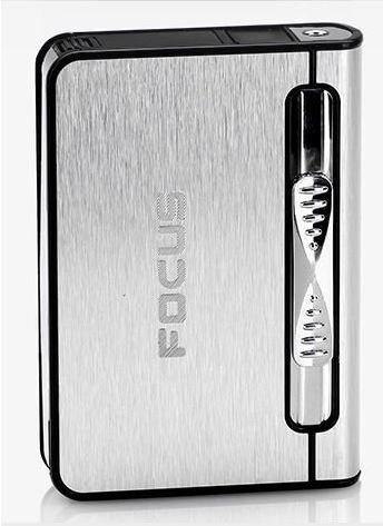 FOCUS Zigarettenetui Spender mit Butan Jet Torch Feuerzeug (Enthält 10) SILBER