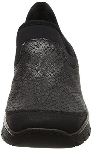 Rieker 53778, Mocassins Femme Gris (Schwarz/granit/schwarz)