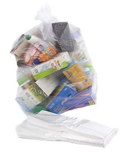 100 Clear Recycling Bags / Sacks / Refuse / Rubbish - 64 Gauge by Bag It Plastics