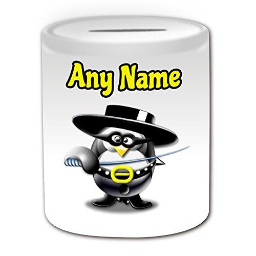 Personalisiertes Geschenk–Zorro Geld Box (Pinguin Cartoon Charakter Kostüm -