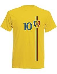 Rumänien România Herren T-Shirt Nummer 10 Trikot Fußball Mini EM 2016 T-Shirt - S M L XL XXL - gelb NC ST-1