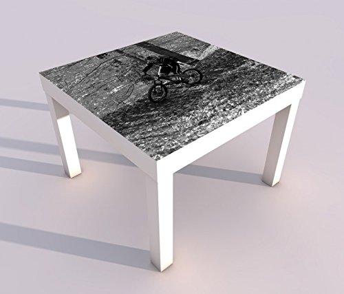 Preisvergleich Produktbild Design - Tisch mit UV Druck 55x55cm schwarz weiß Fahrrad Mountainbike Sport Herbst Spieltisch Lack Tische Bild Bilder Kinderzimmer Möbel 18A529,  Tisch 1:55x55cm