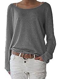 862666c66acf0 ZANZEA Women s Sexy Casual Autumn Loose Round Neck Long Sleeve Tops Blouse  Jumper T-Shirt