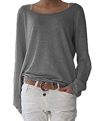 ZANZEA Damen Langarm Lose Bluse Hemd Shirt Oversize Sweatshirt Oberteil Tops Grau EU 40-42/Etikettgröße M