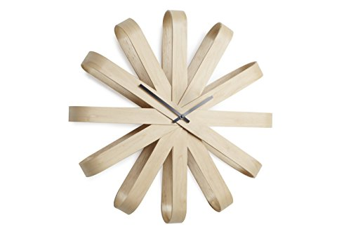 UMBRA - Horloge murale design bois naturel umbra ribbonwood