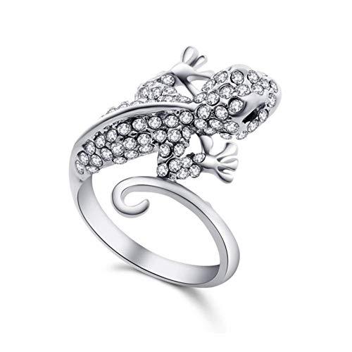 Fliyeong Übertriebener diamantbesetzter Gecko-Ring Einfacher und luxuriöser Modeschmuck