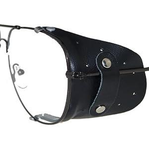Seitenschutz aus Leder in schwarz für große Brillen | Windschutz