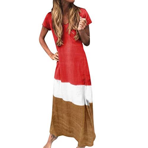 Zottom Damen Kleider,Frauen Plus Size Täglich gebatiktem Farbblock lose V-Ausschnitt Kurzarm Maxikleid