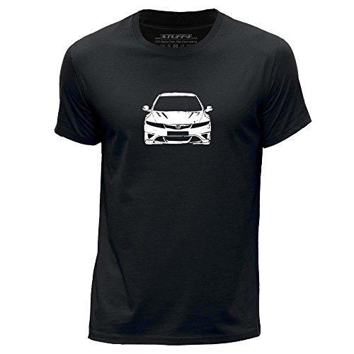Stuff4 Herren/X groß (XL)/Schwarz/Rundhals T-Shirt/Schablone Auto-Kunst/Civic FN2
