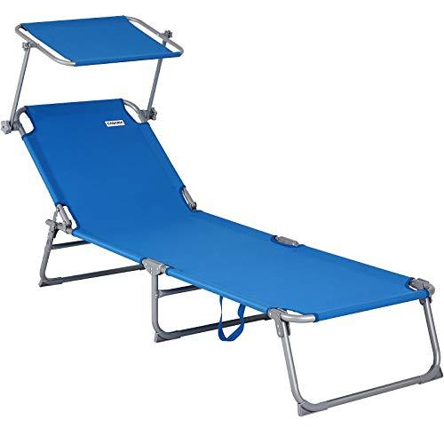 Casaria Sonnenliege Hawaii Dach Tragegriff 195cm Länge Verstellbar Gartenliege Strandliege Freizeitliege Liege Blau