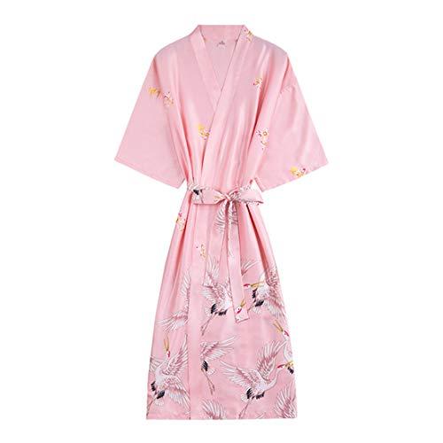 TAAMBAB Lange Seide Satin Kimonos für Damen Bademantel Morgenmantel V Ausschnitt 3/4-Ärmeln Robe Brautjungfer Brautdusche (ärmel 4 Roben 3)