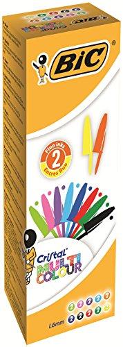 Bic Cristal Multicolour Punta Larga 1,6 mm Confezione 20 Penne Colori Assortiti