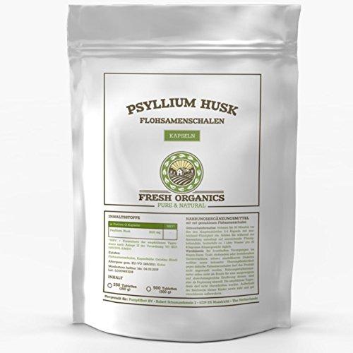 FLOHSAMENSCHALEN | 250-1000 Kapseln Großpackung | Psyllium Husk | fein gemahlen + natürlich | Verdauung, Detox & Sättigung | Premium Qualität ohne Zusatzstoffe (500 Kapseln)
