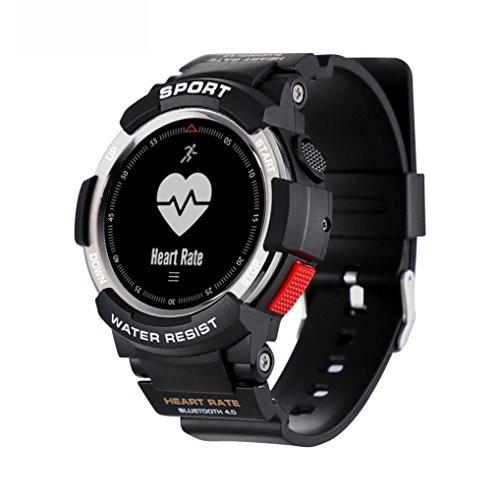 samLIKE F6 Sport Smartwatch Bluetooth 4.0 Wasserdichte IP68 Pulsmesser Schrittzähler für Bergsteiger 【Coolste Smartwatch in diesem Sommer】 (Silber)