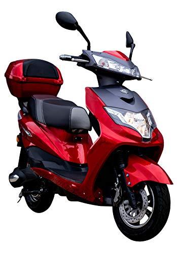 """Elektroroller""""Eagle"""", 2000 Watt, 60KM Reichweite, Blei-Gel-Akku, E-Roller E-Scooter 45 km/h Straßenzulassunginkl. Topcase, Rot"""