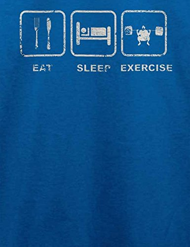 Eat Sleep Exercise Vintage T-Shirt Royal Blau