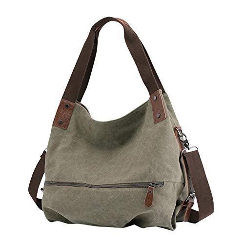 Gindoly Damen Canvas Handtasche Klein Vintage Shopper Schultertasche Henkeltasche Hobo Tasche Beuteltasche Grün EINWEG -