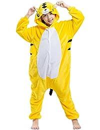 Pijama Tigre Amarillo, Franela Onesie Animal Cosplay para Niños entre 9,0 y 1,46 m Unisex Kigurumi