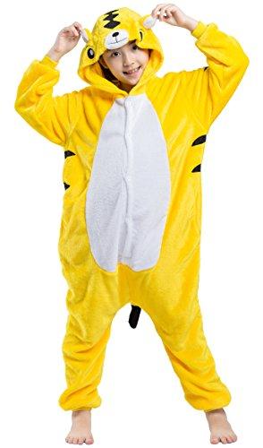 Kinder Overall Pyjama Tier Flanell Cospaly Kostüme Gelb Tiger Geeignet für Hohe 90-146 - Strampelanzug Halloween-kostüm Tiger