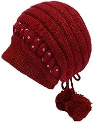 Sombrero del invierno Sra. Guarde el hacer punto caliente Casquillo de las lanas Sombrero del pintor de las boinas ( Color : Rojo )