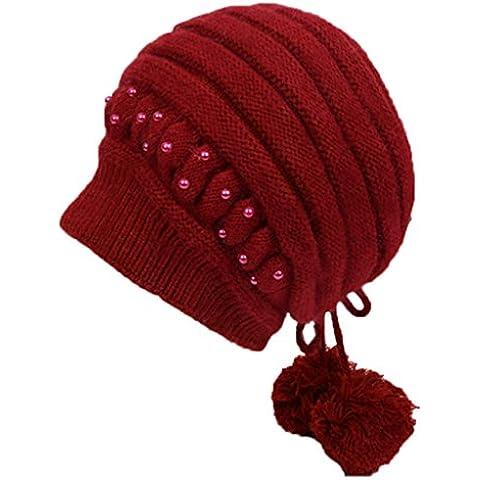 Sombrero del invierno Sra. Guarde el hacer punto caliente Casquillo de las lanas Sombrero del pintor de las boinas ( Color : Rojo