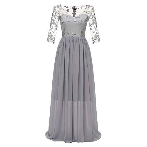 MAYOGO Kleid Damen Elegant Vintage 50er Spitze Kleid mit Tüll Langarm Cocktail Party Rockabill Kleider ()