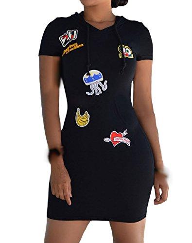 Dissa DSY22708 femme Hoodies Robe cocktail Noir