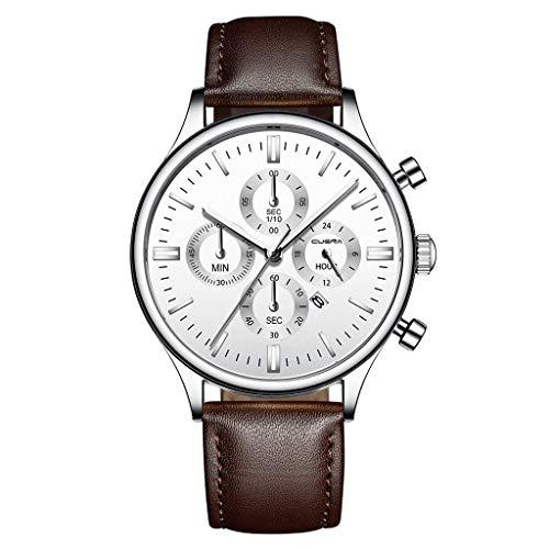 friendGG Edelstahl-Lederarmband Quarz-Analoge Armbanduhr Der Art- Und Weisesport-MäNner Neu Herren Uhr Uhren Watch Casual üBerwachung Analoge Uhrenarmband Armbanduhren