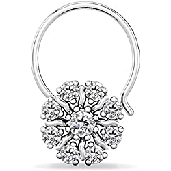 Silver Dew 925 Pure Sterling Silver Base Metal CZ Diamond Rhodium Plated Flower Nose Ring For Women's & Girls