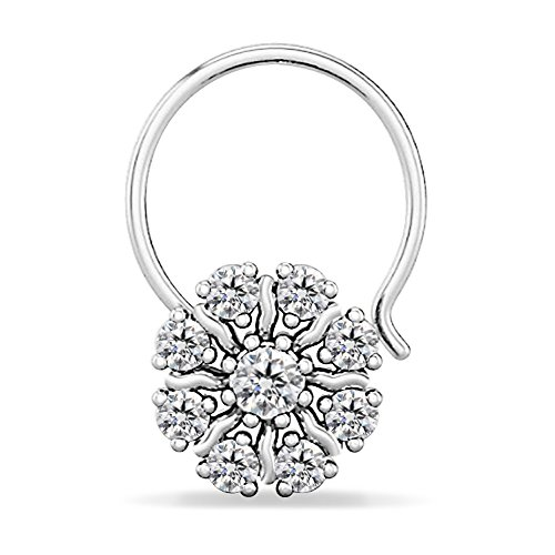 Silver Dew 925 Pure Sterling Silver Base Metal CZ Diamond Rhodium Plated Fancy Girls Flower Nose Pin