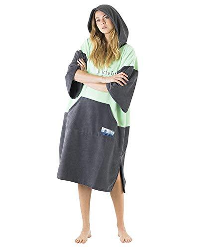 Vivida Lifestyle Poncho mit Kapuze Handtuch und Umziehilfe am Strand, beim Surfen und Schwimmen verwendbar - Orange/Grey, M (Junior)
