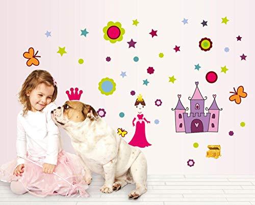 Wandaufkleber Cartoon Prinzessin Schloss Blume Schmetterling Dekoration Startseite Kinder Schlafzimmer Kindergarten Nette Dekoration (Dekoration Schloss Prinzessin)