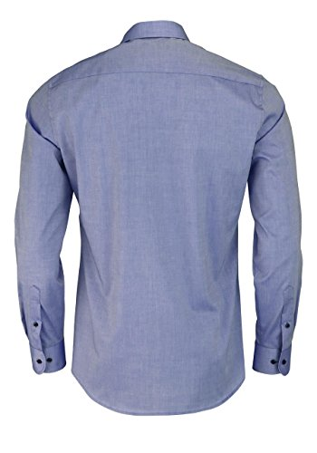 Eterna Long Sleeve Shirt Slim Fit Stretch Uni Blu jeans