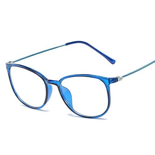 Duhongmei123 Mode Brillen Frame Ultralight Special Glasses Frame Plain Glasses Unisex-Brillen mit großem Rahmen Occhiali (Color : Blau, Size : Kostenlos)