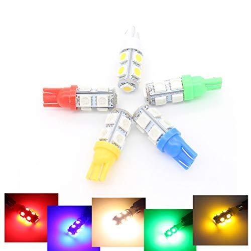 Richdoo T10 W5W 5W5 9 5050 12 V Feux de Position LED pour Voiture Ampoules Xénon - Vert