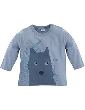 Pinokio - Wild Boy - Jungen Langarmshirt 100% Baumwolle, grau mit Wolf - Shirt aus dünnem Baumwollstoff, langärmlig