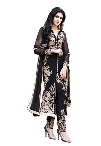 Paheli Women Georgette Salwar Suit (PHL0615RF308A_Black_Black_Free Size)