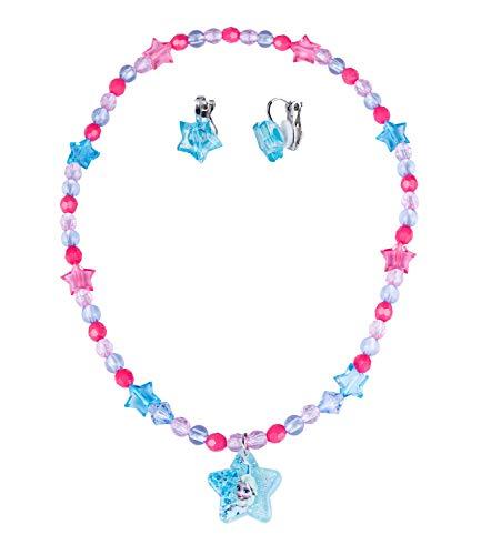 SIX Disney Kids, Frozen, 2er Schmuckset, Ohrclips aus funkelnden blauen Sternen, Halskette mit Sternanhänger mit ELSA (297-759)