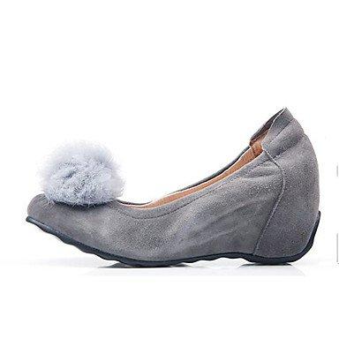 Zormey Frauen Heels Feder Komfort Veloursleder Lässiger Bildschirm Farbe Grau Schwarz US6.5-7 / EU37 / UK4.5-5 / CN37