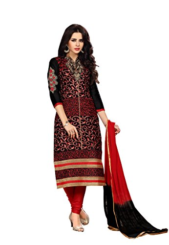 Oomph! Womens Unstitched Salwar Suit Dupatta/Cotton Salwar Suit/Embroidered Dress Material, Black