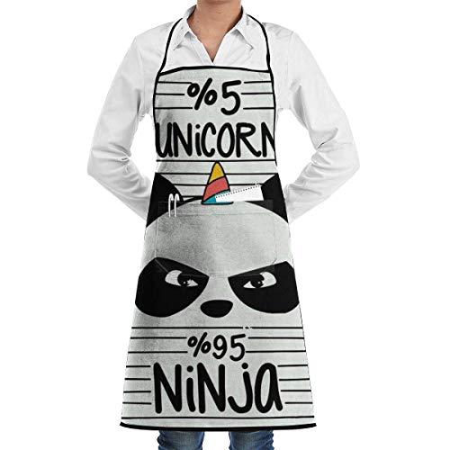 QIAOJIE Einhorn Panda Latzschürze für Damen Herren - Wasserdichte Kochschürze mit Fronttasche für Küche Kochen Basteln Backen (Lustige Herren Schürzen)