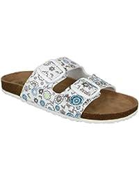 buyAzzo Bio Damen Pantoletten Freizeit Hausschuhe Tiefbett Komfort Schuhe Verstellbare Schnallen 4 Farben Eva Sohle BA540550 (38, Schwarz)