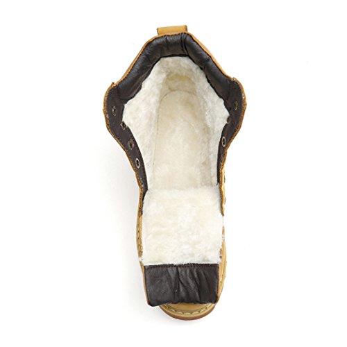 HHY-Confortevole e breathableAutumn tempo libero alta stivali guida caldo ed elegante codice grandi uomini Martin stivali Dark brown plus cotton