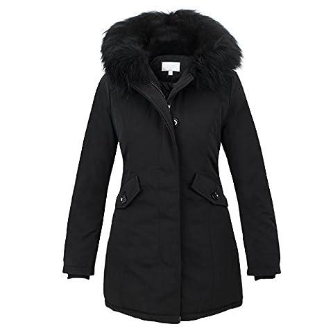Damen Parka Jacke Echtfell Basic Damenjacke Fashion Winterjacke E1610 Freshlions