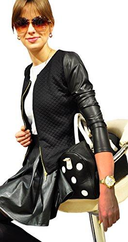 Bello e Elegante Cardigan Bolero da Donna Giacca trapuntata con Maniche in ecopelle con Zip (179) (48 (XL), Nero)